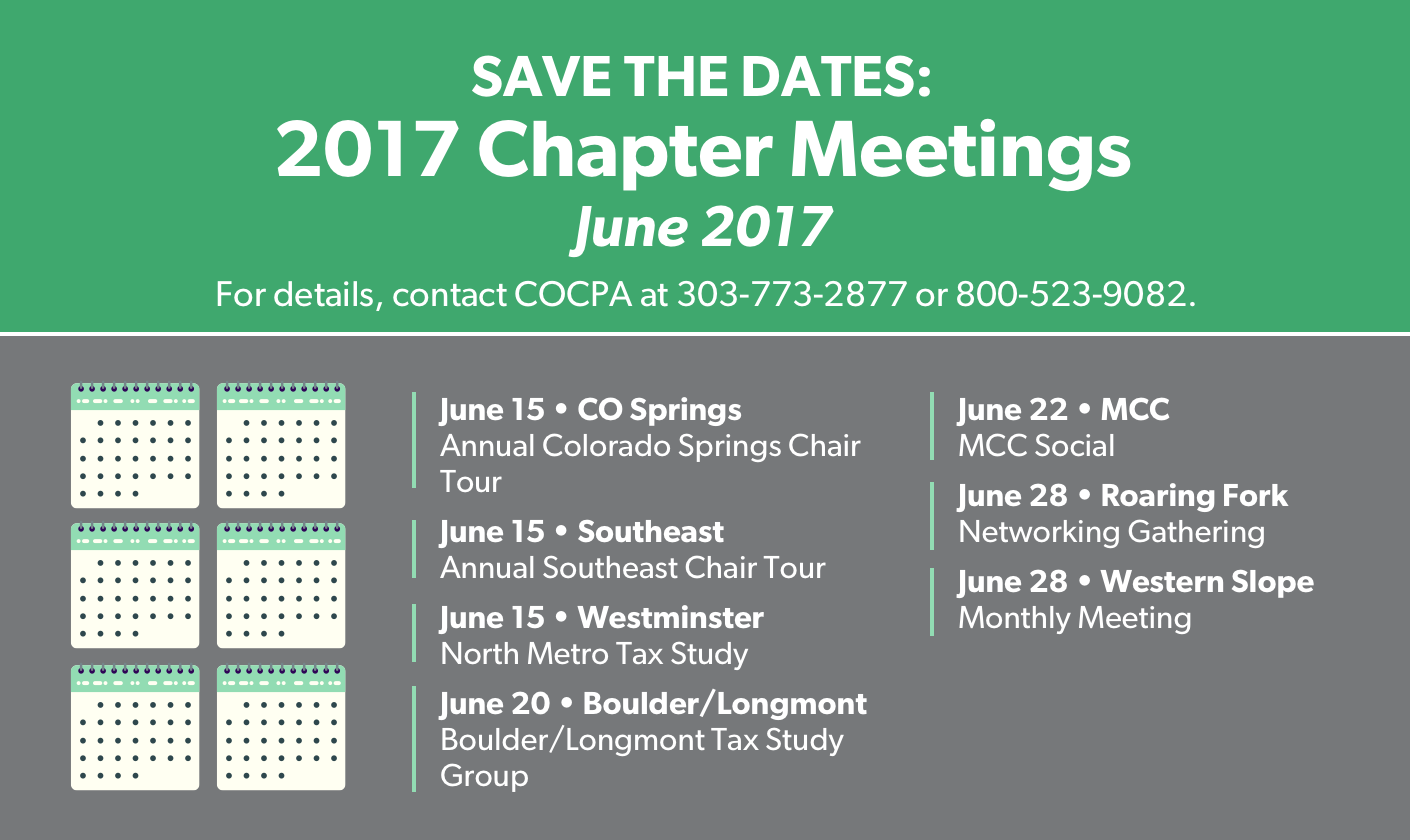 COCPA Monthly Chapter Events